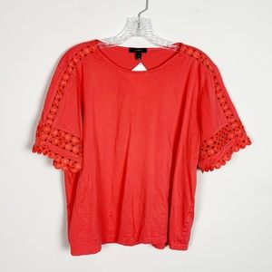J.Crew   eyelet sleeve spring blouse red large
